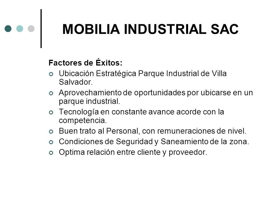 MOBILIA INDUSTRIAL SAC Factores de Éxitos: Ubicación Estratégica Parque Industrial de Villa Salvador. Aprovechamiento de oportunidades por ubicarse en