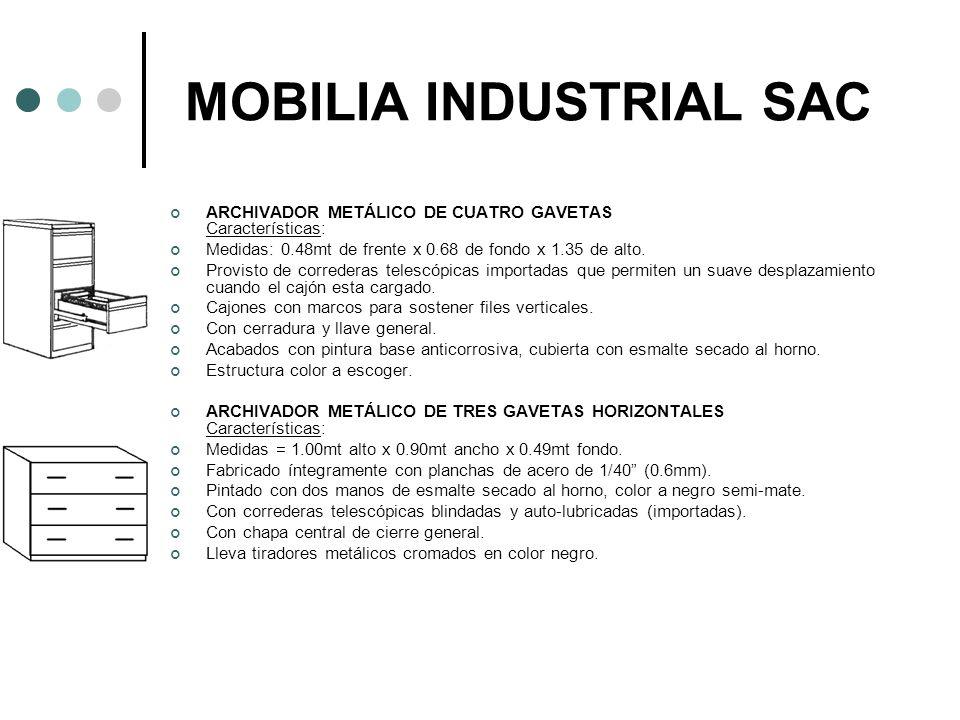 MOBILIA INDUSTRIAL SAC ARCHIVADOR METÁLICO DE CUATRO GAVETAS Características: Medidas: 0.48mt de frente x 0.68 de fondo x 1.35 de alto. Provisto de co
