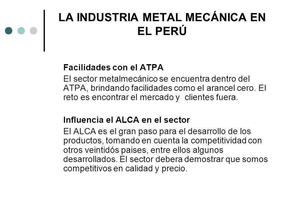 LA INDUSTRIA METAL MECÁNICA EN EL PERÚ Facilidades con el ATPA El sector metalmecánico se encuentra dentro del ATPA, brindando facilidades como el ara