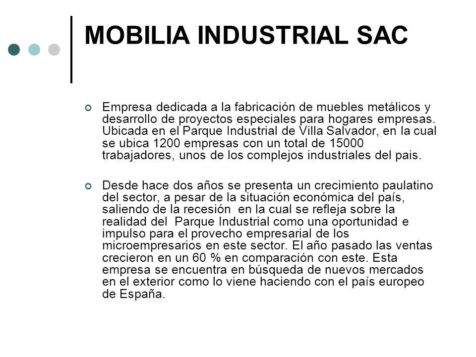 MOBILIA INDUSTRIAL SAC VISION: Ser la empresa líder en le sector metalmecánica al año 2020.