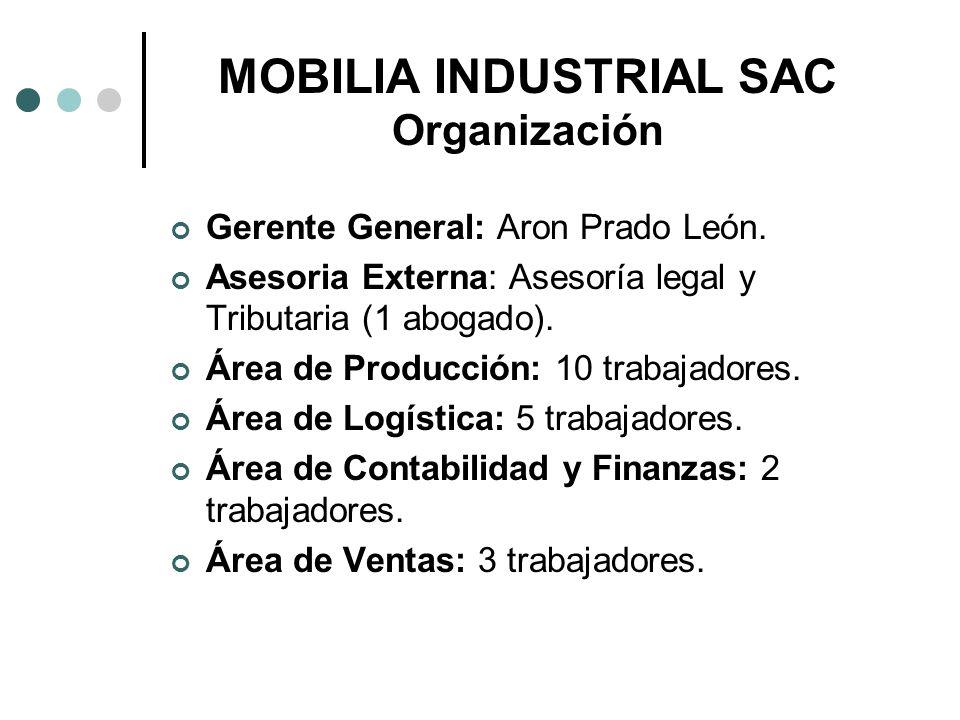 MOBILIA INDUSTRIAL SAC Organización Gerente General: Aron Prado León. Asesoria Externa: Asesoría legal y Tributaria (1 abogado). Área de Producción: 1