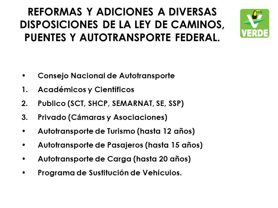 REFORMAS Y ADICIONES A DIVERSAS DISPOSICIONES DE LA LEY DE CAMINOS, PUENTES Y AUTOTRANSPORTE FEDERAL.