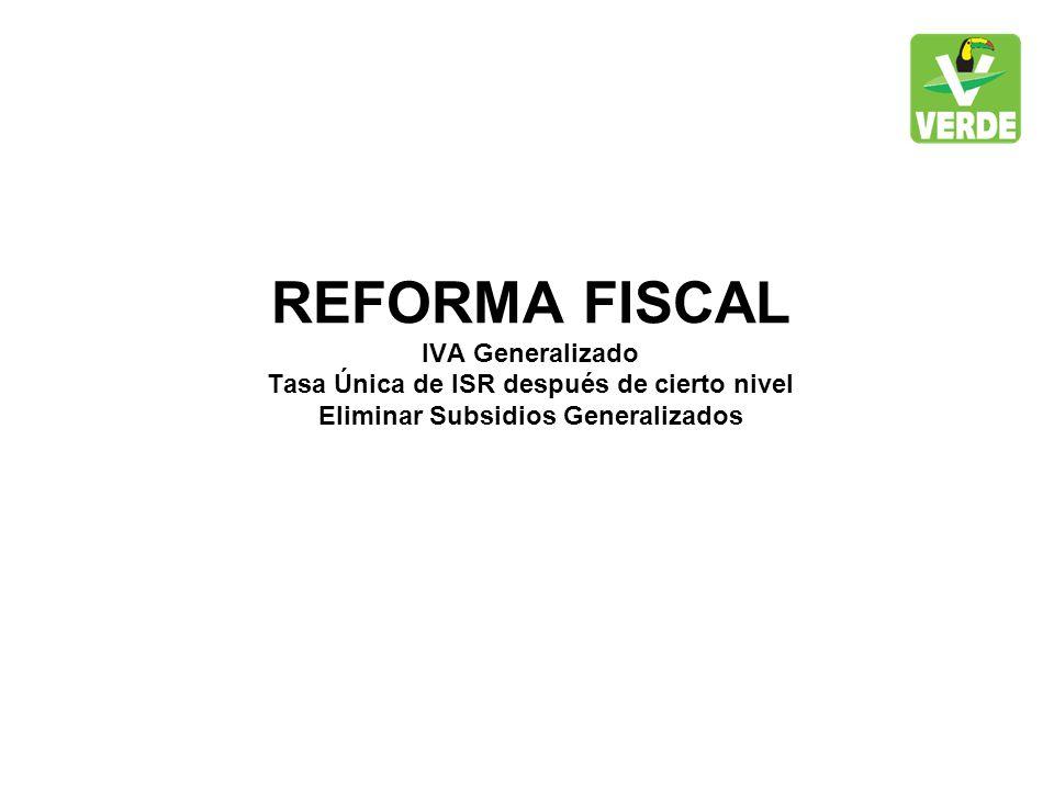 REFORMA FISCAL IVA Generalizado Tasa Única de ISR después de cierto nivel Eliminar Subsidios Generalizados