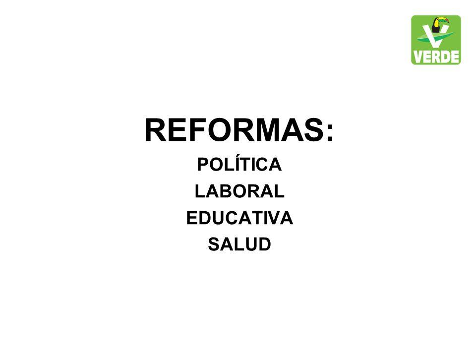 REFORMAS: POLÍTICA LABORAL EDUCATIVA SALUD