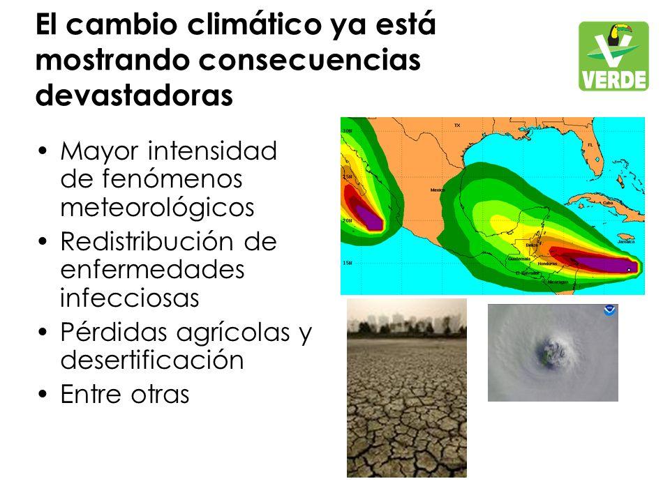 El cambio climático ya está mostrando consecuencias devastadoras Mayor intensidad de fenómenos meteorológicos Redistribución de enfermedades infecciosas Pérdidas agrícolas y desertificación Entre otras
