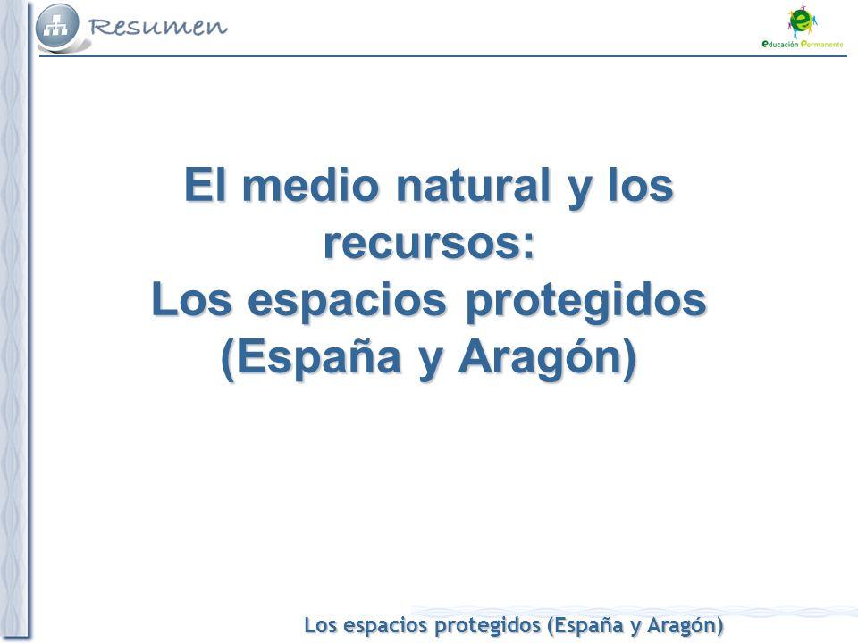 Los espacios protegidos (España y Aragón) El medio natural y los recursos: Los espacios protegidos (España y Aragón)