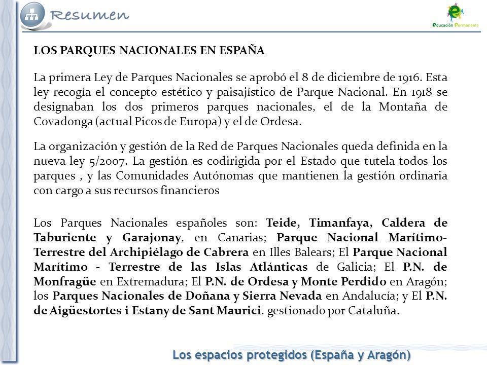 Los espacios protegidos (España y Aragón) LOS PARQUES NACIONALES EN ESPAÑA La primera Ley de Parques Nacionales se aprobó el 8 de diciembre de 1916. E