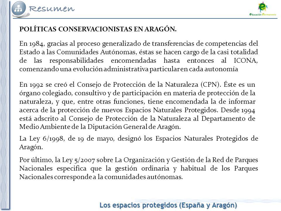 Los espacios protegidos (España y Aragón) POLÍTICAS CONSERVACIONISTAS EN ARAGÓN. En 1984, gracias al proceso generalizado de transferencias de compete