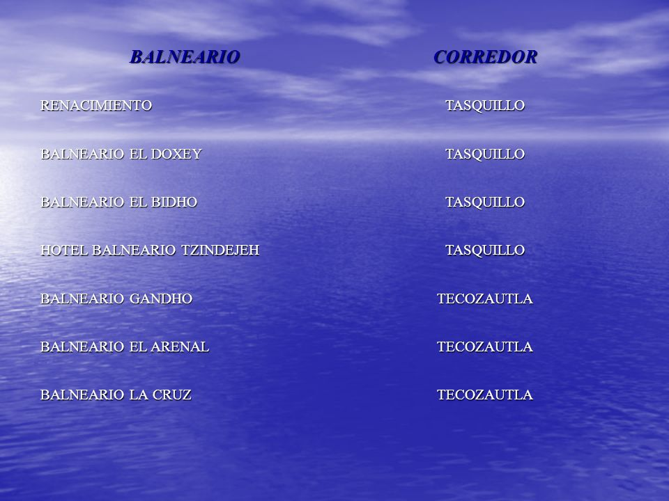 BALNEARIOCORREDOR BALNEARIO EL HUEMAC TEZONTEPEC DE ALDAMA BALNEARIO ALBATROS TIZAYUCA PARQUE ACUATICO LA CANTERA TULA DE ALLENDE EL INFIERNILLO ZIMAPAN