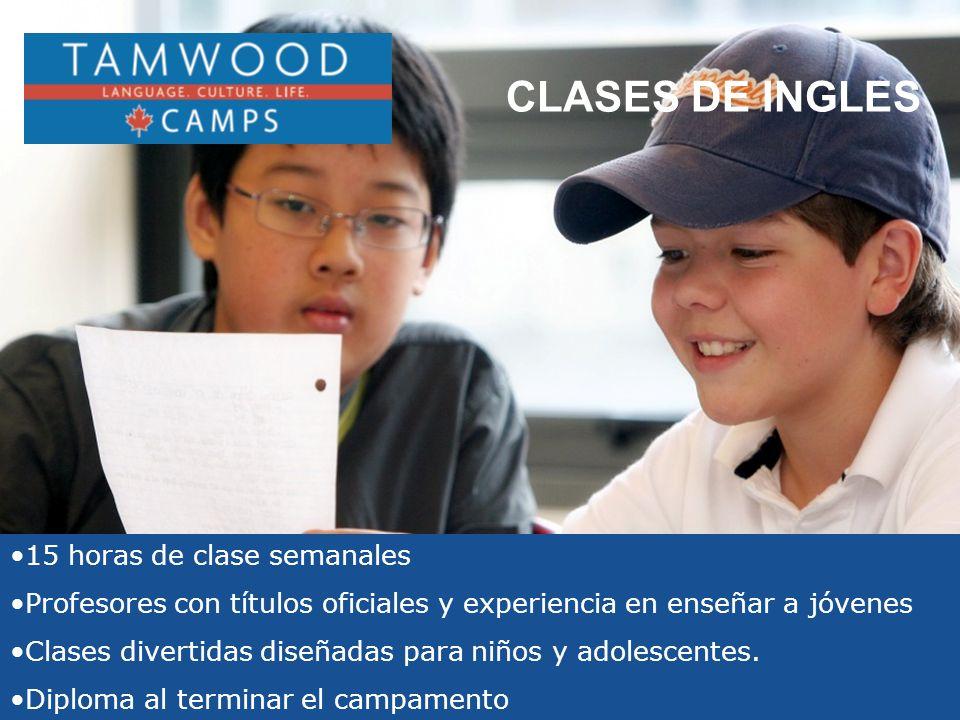 15 horas de clase semanales Profesores con títulos oficiales y experiencia en enseñar a jóvenes Clases divertidas diseñadas para niños y adolescentes.