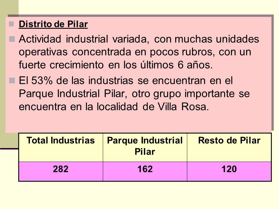 Distrito de Pilar Actividad industrial variada, con muchas unidades operativas concentrada en pocos rubros, con un fuerte crecimiento en los últimos 6 años.