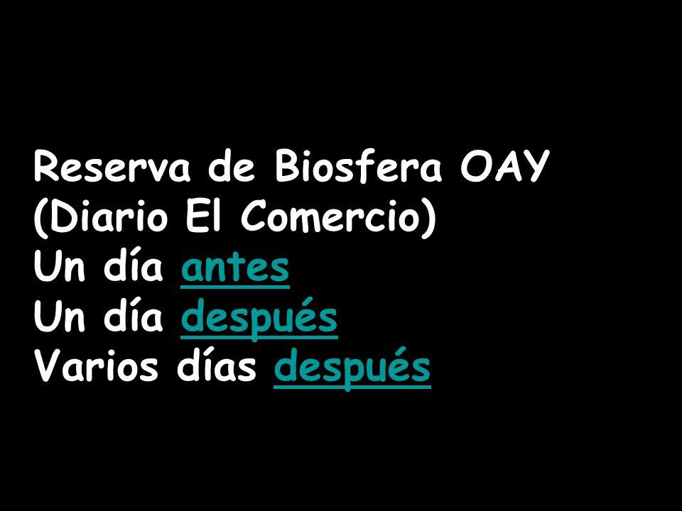 Reserva de Biosfera OAY (Diario El Comercio) Un día antesantes Un día despuésdespués Varios días despuésdespués