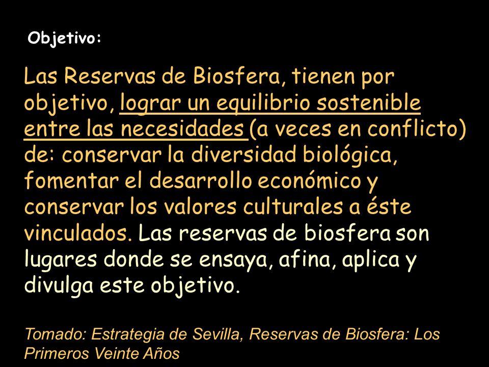 Objetivo: Las Reservas de Biosfera, tienen por objetivo, lograr un equilibrio sostenible entre las necesidades (a veces en conflicto) de: conservar la