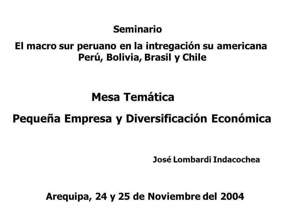 Seminario El macro sur peruano en la intregación su americana Perú, Bolivia, Brasil y Chile Arequipa, 24 y 25 de Noviembre del 2004 Mesa Temática Pequ