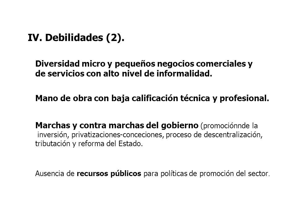 IV. Debilidades (2). Diversidad micro y pequeños negocios comerciales y de servicios con alto nivel de informalidad. Mano de obra con baja calificació