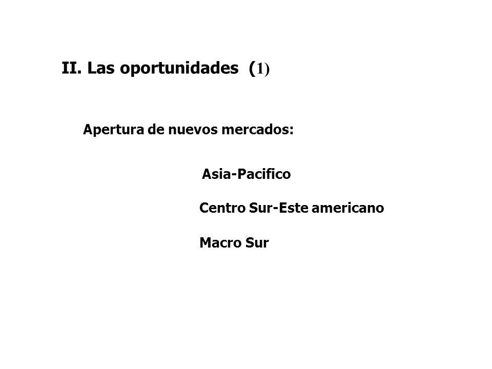 II. Las oportunidades ( 1) Asia-Pacifico Centro Sur-Este americano Macro Sur Apertura de nuevos mercados: