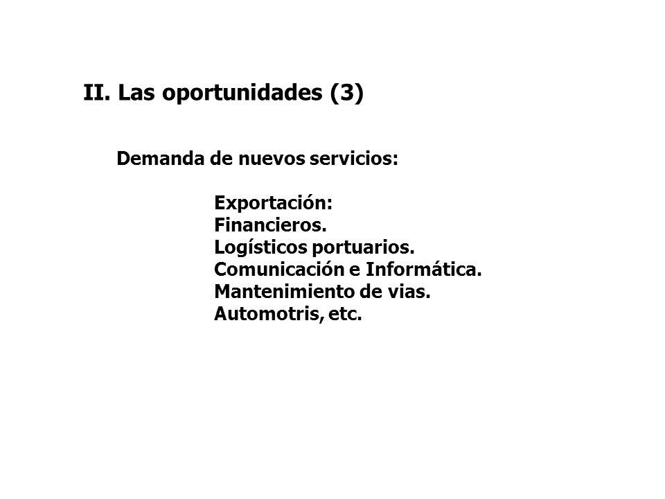 II. Las oportunidades (3) Demanda de nuevos servicios: Exportación: Financieros. Logísticos portuarios. Comunicación e Informática. Mantenimiento de v