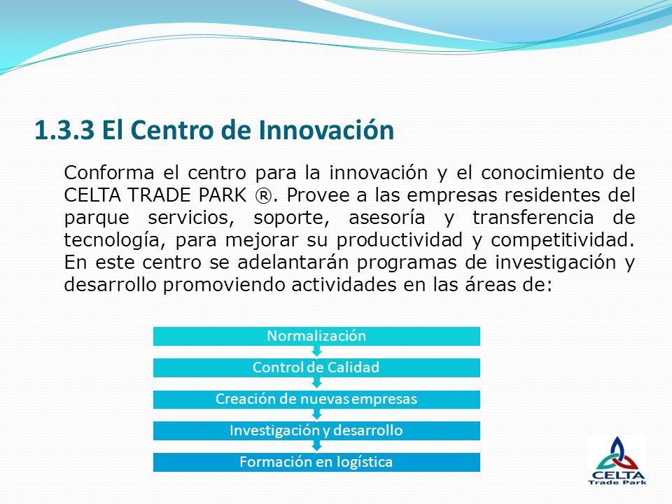1.3.3 El Centro de Innovación Conforma el centro para la innovación y el conocimiento de CELTA TRADE PARK ®. Provee a las empresas residentes del parq