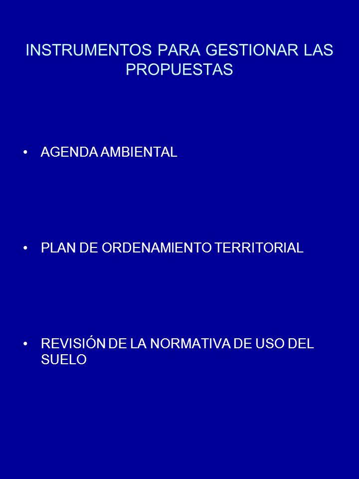INSTRUMENTOS PARA GESTIONAR LAS PROPUESTAS AGENDA AMBIENTAL PLAN DE ORDENAMIENTO TERRITORIAL REVISIÓN DE LA NORMATIVA DE USO DEL SUELO