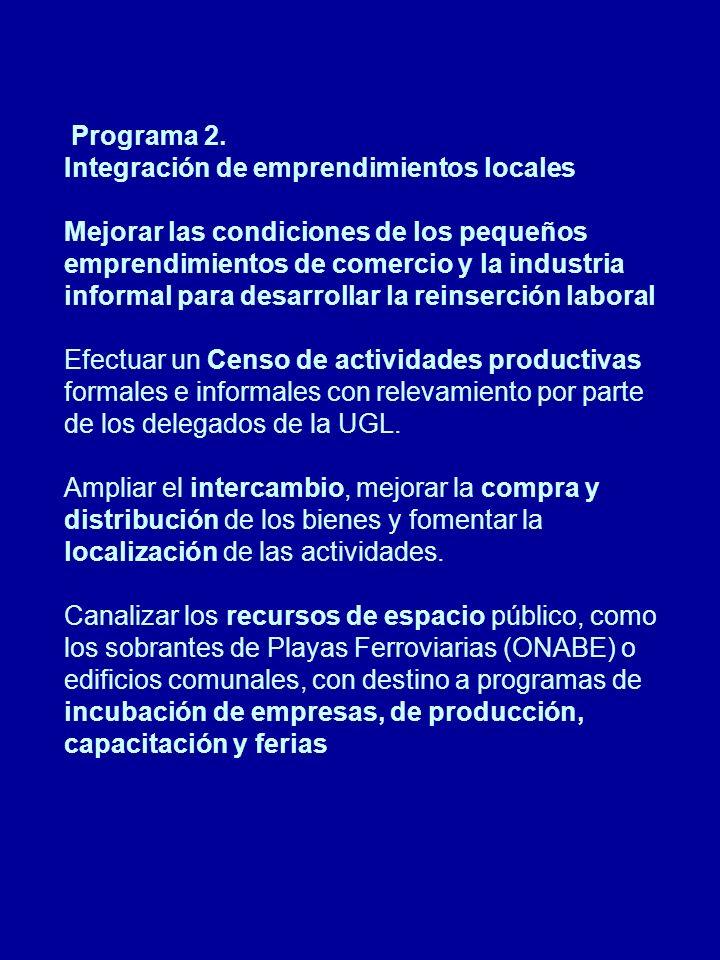 Programa 3.Recalificación de las Áreas Centrales Diálogo activo entre el sector y el gobierno.