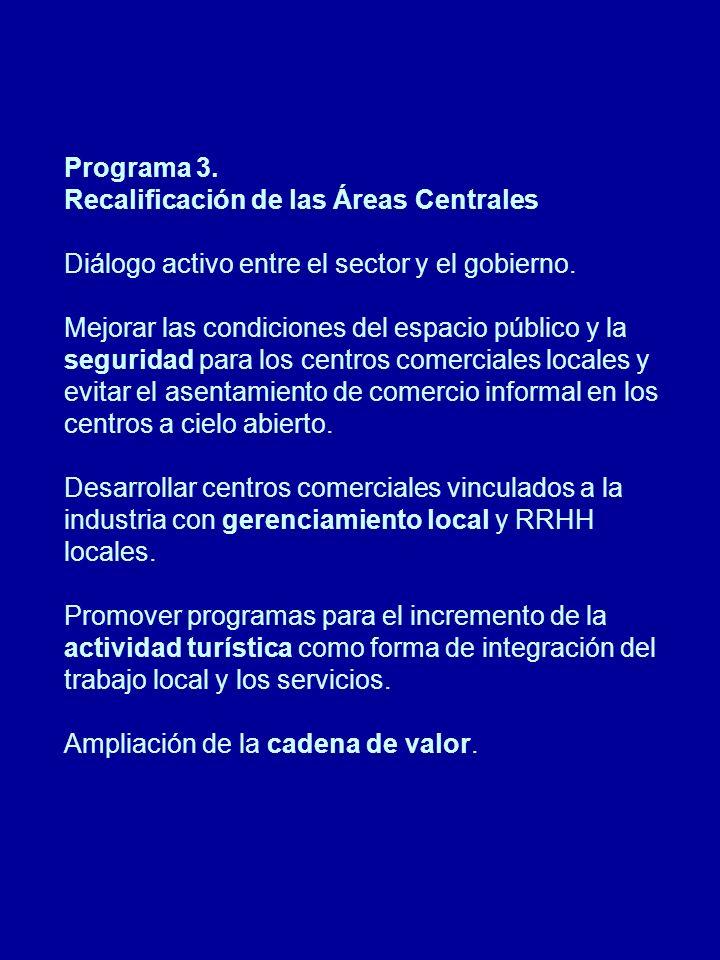 Programa 3. Recalificación de las Áreas Centrales Diálogo activo entre el sector y el gobierno.