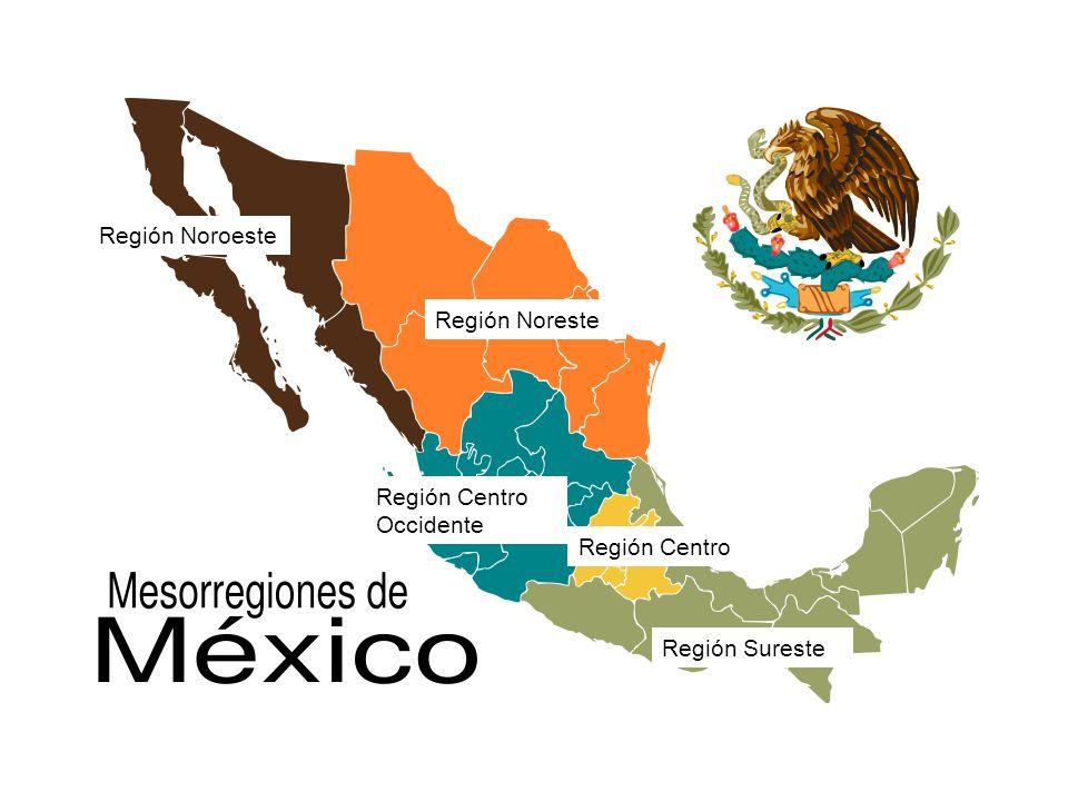 Región Noroeste Región Centro Región Sureste Región Centro Occidente Región Noreste