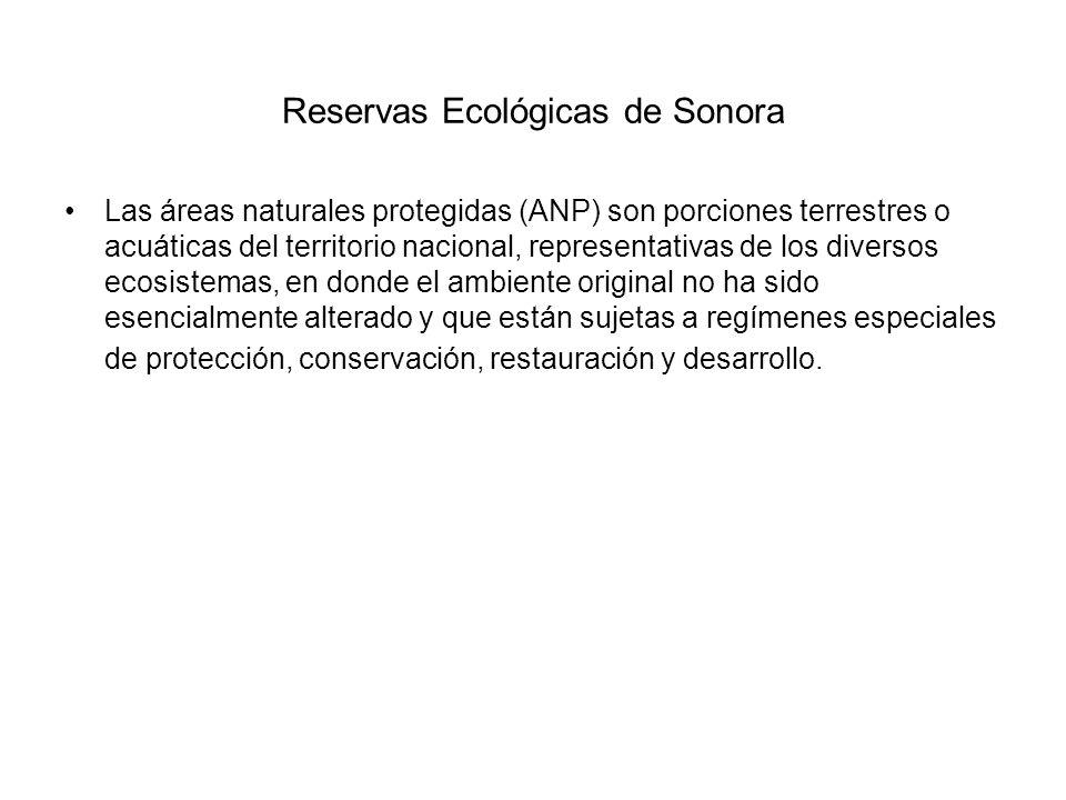 Reservas Ecológicas de Sonora Las áreas naturales protegidas (ANP) son porciones terrestres o acuáticas del territorio nacional, representativas de lo