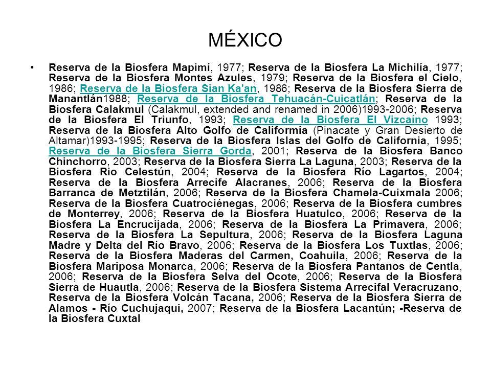 MÉXICO Reserva de la Biosfera Mapimí, 1977; Reserva de la Biosfera La Michilía, 1977; Reserva de la Biosfera Montes Azules, 1979; Reserva de la Biosfe