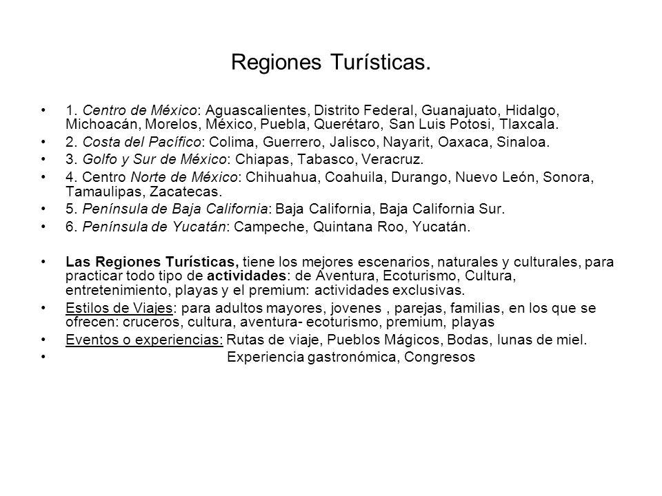 Regiones Turísticas. 1. Centro de México: Aguascalientes, Distrito Federal, Guanajuato, Hidalgo, Michoacán, Morelos, México, Puebla, Querétaro, San Lu