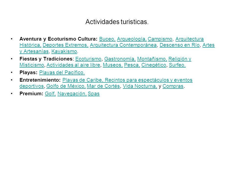 Actividades turisticas. Aventura y Ecoturismo Cultura: Buceo, Arqueología, Campismo, Arquitectura Histórica, Deportes Extremos, Arquitectura Contempor