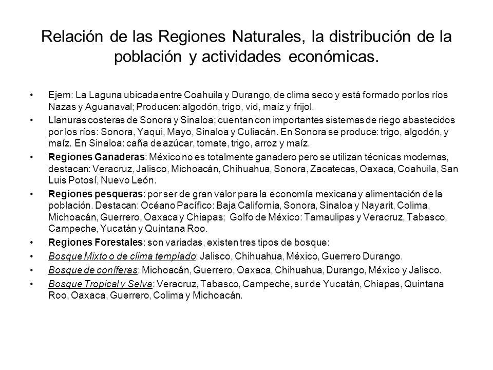 Relación de las Regiones Naturales, la distribución de la población y actividades económicas. Ejem: La Laguna ubicada entre Coahuila y Durango, de cli