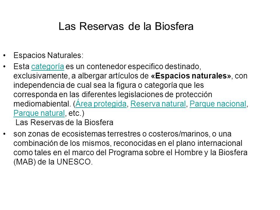 Las Reservas de la Biosfera Espacios Naturales: Esta categoría es un contenedor especifico destinado, exclusivamente, a albergar artículos de «Espacio