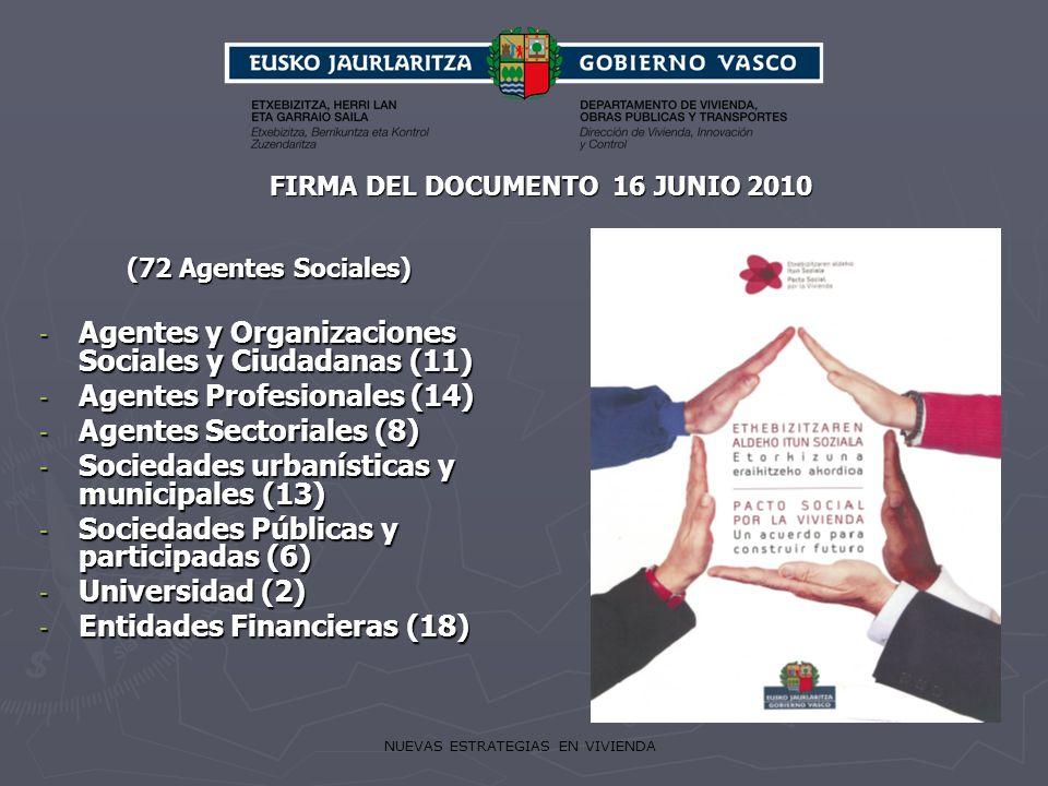NUEVAS ESTRATEGIAS EN VIVIENDA (72 Agentes Sociales) - Agentes y Organizaciones Sociales y Ciudadanas (11) - Agentes Profesionales (14) - Agentes Sect