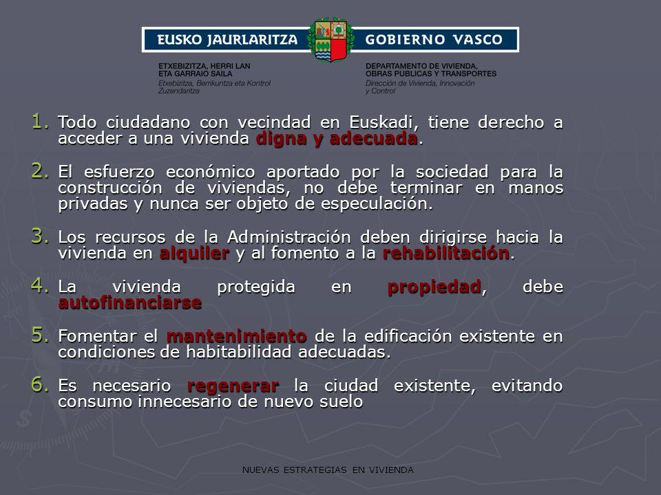 NUEVAS ESTRATEGIAS EN VIVIENDA 1. Todo ciudadano con vecindad en Euskadi, tiene derecho a acceder a una vivienda digna y adecuada. 2. El esfuerzo econ