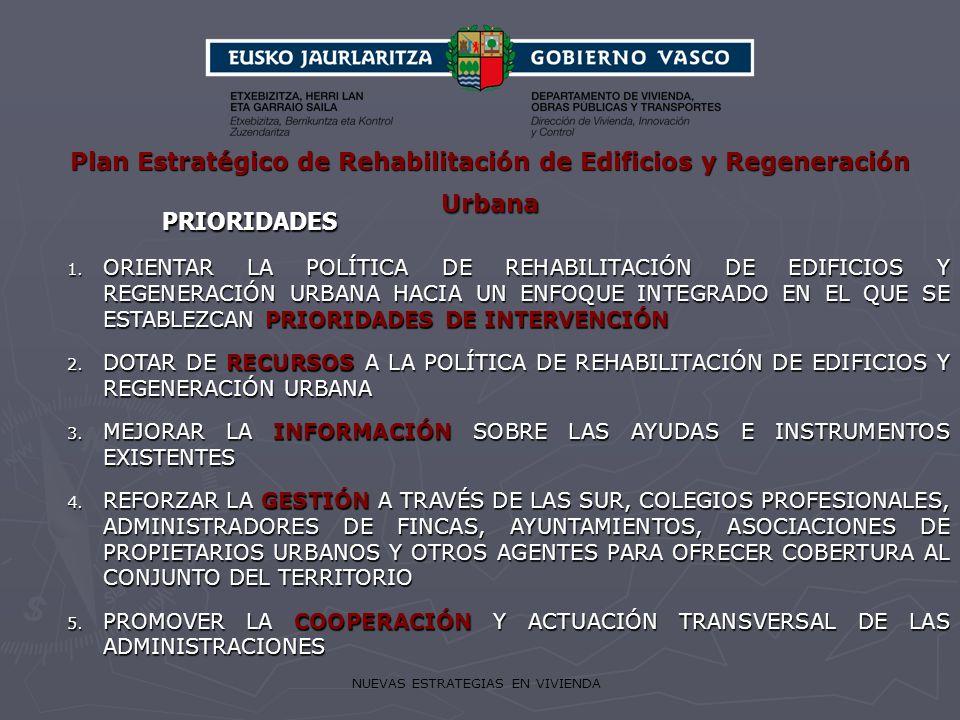 NUEVAS ESTRATEGIAS EN VIVIENDA PRIORIDADES PRIORIDADES 1. ORIENTAR LA POLÍTICA DE REHABILITACIÓN DE EDIFICIOS Y REGENERACIÓN URBANA HACIA UN ENFOQUE I