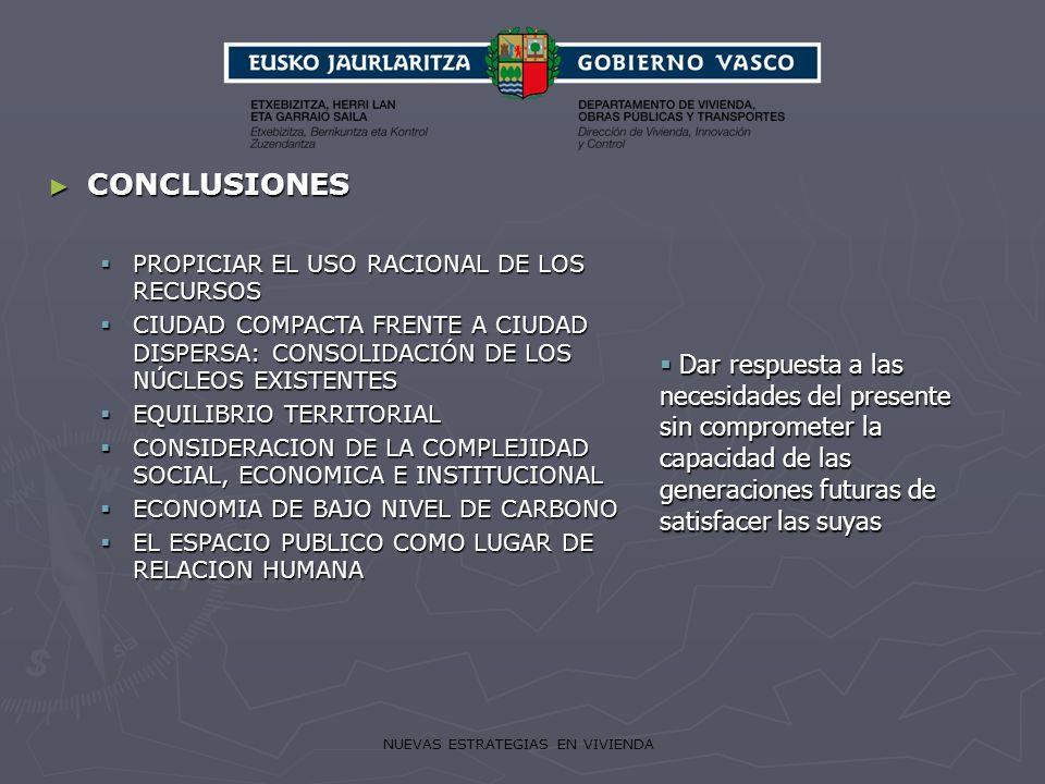 NUEVAS ESTRATEGIAS EN VIVIENDA CONCLUSIONES CONCLUSIONES PROPICIAR EL USO RACIONAL DE LOS RECURSOS PROPICIAR EL USO RACIONAL DE LOS RECURSOS CIUDAD CO