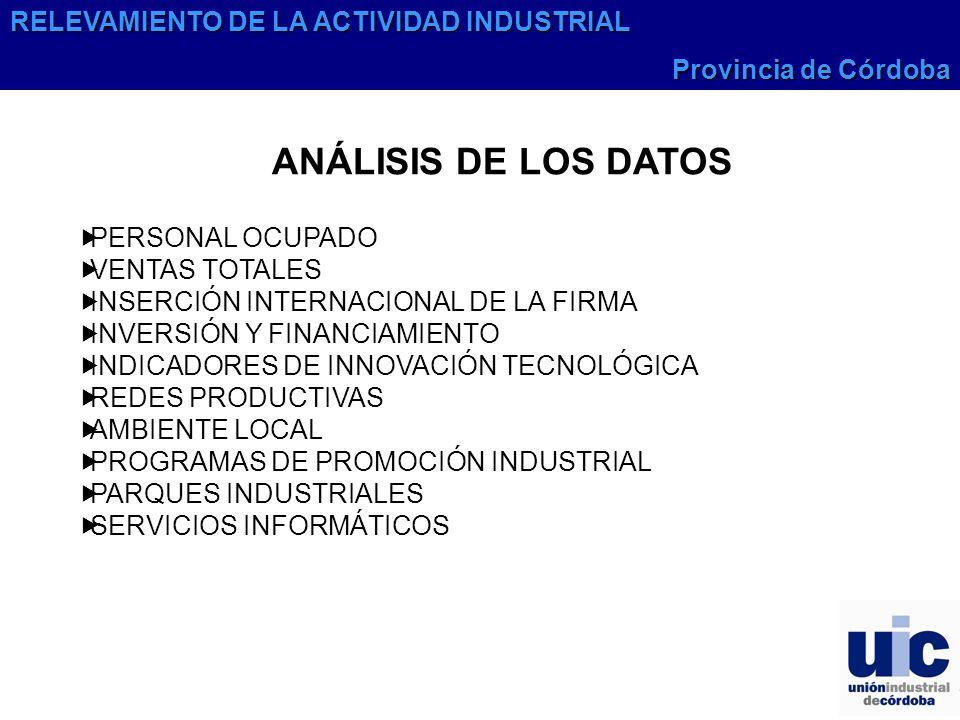 RELEVAMIENTO DE LA ACTIVIDAD INDUSTRIAL Provincia de Córdoba ANÁLISIS DE LOS DATOS PERSONAL OCUPADO VENTAS TOTALES INSERCIÓN INTERNACIONAL DE LA FIRMA INVERSIÓN Y FINANCIAMIENTO INDICADORES DE INNOVACIÓN TECNOLÓGICA REDES PRODUCTIVAS AMBIENTE LOCAL PROGRAMAS DE PROMOCIÓN INDUSTRIAL PARQUES INDUSTRIALES SERVICIOS INFORMÁTICOS