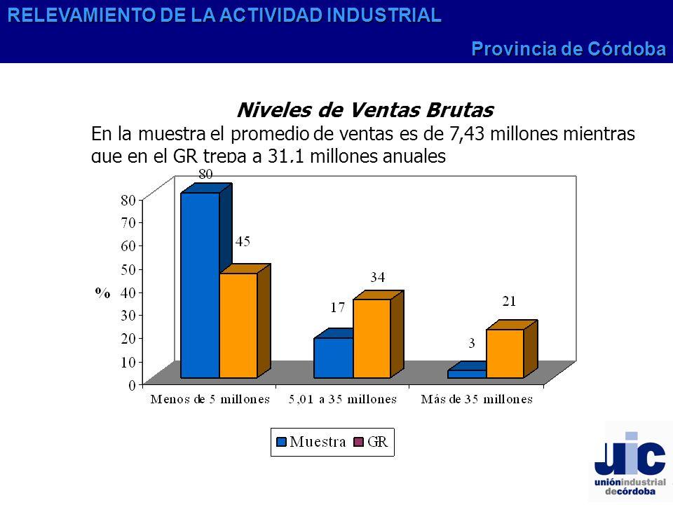 Niveles de Ventas Brutas En la muestra el promedio de ventas es de 7,43 millones mientras que en el GR trepa a 31,1 millones anuales RELEVAMIENTO DE LA ACTIVIDAD INDUSTRIAL Provincia de Córdoba