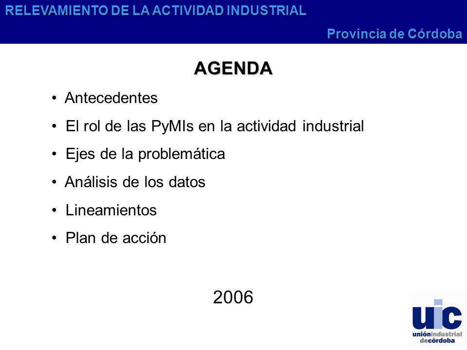 AGENDA Antecedentes El rol de las PyMIs en la actividad industrial Ejes de la problemática Análisis de los datos Lineamientos Plan de acción 2006 RELEVAMIENTO DE LA ACTIVIDAD INDUSTRIAL Provincia de Córdoba