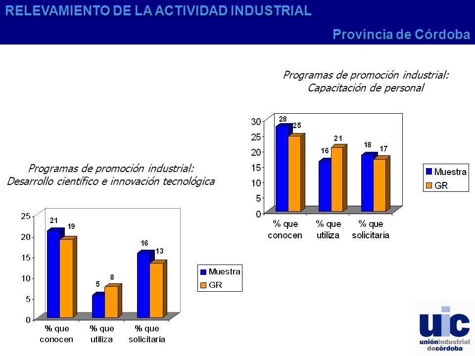 Programas de promoción industrial: Desarrollo científico e innovación tecnológica Programas de promoción industrial: Capacitación de personal RELEVAMIENTO DE LA ACTIVIDAD INDUSTRIAL Provincia de Córdoba