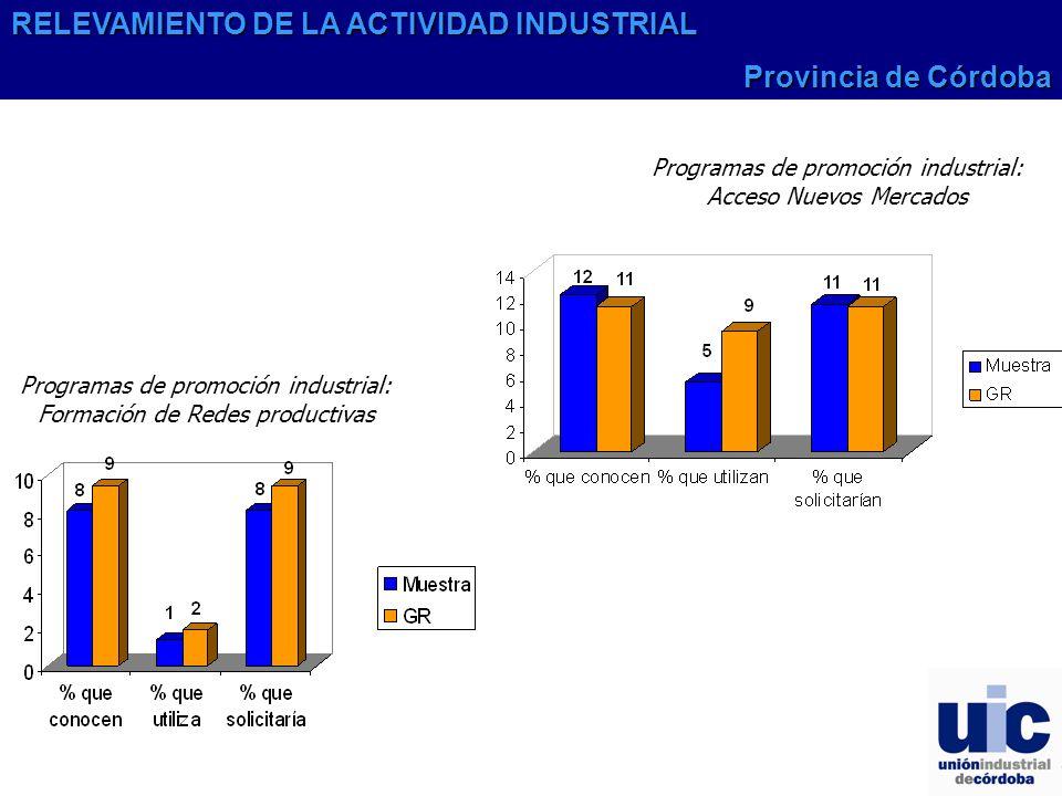 Programas de promoción industrial: Formación de Redes productivas Programas de promoción industrial: Acceso Nuevos Mercados RELEVAMIENTO DE LA ACTIVIDAD INDUSTRIAL Provincia de Córdoba