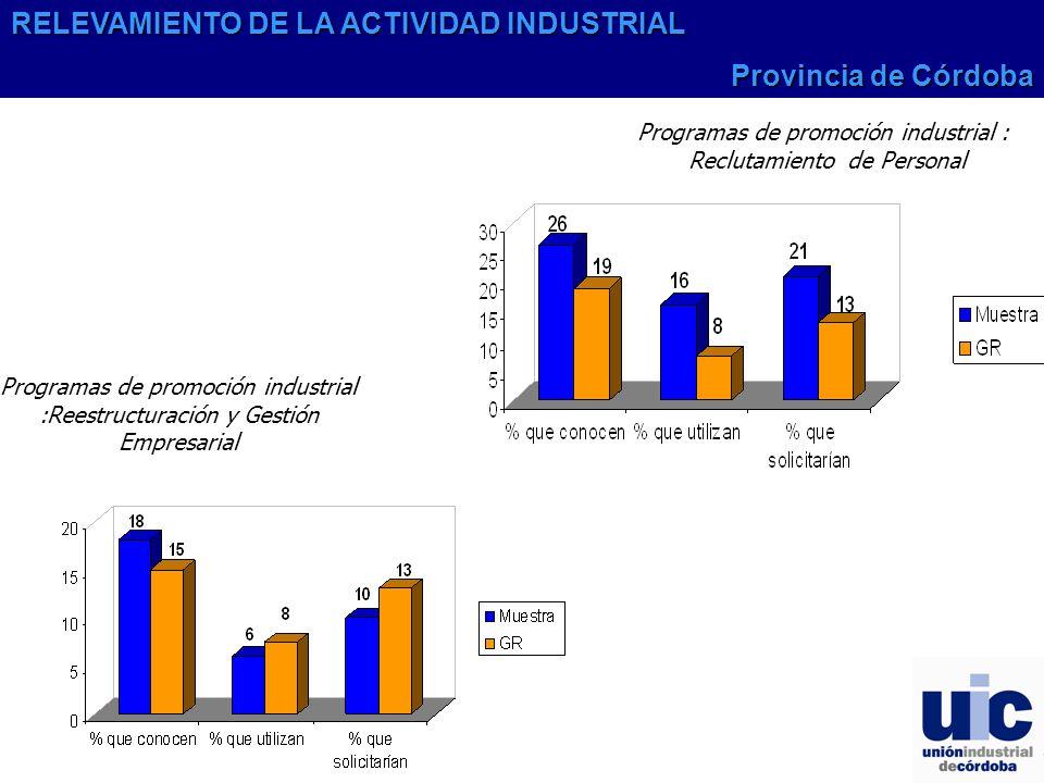 Programas de promoción industrial :Reestructuración y Gestión Empresarial Programas de promoción industrial : Reclutamiento de Personal RELEVAMIENTO DE LA ACTIVIDAD INDUSTRIAL Provincia de Córdoba