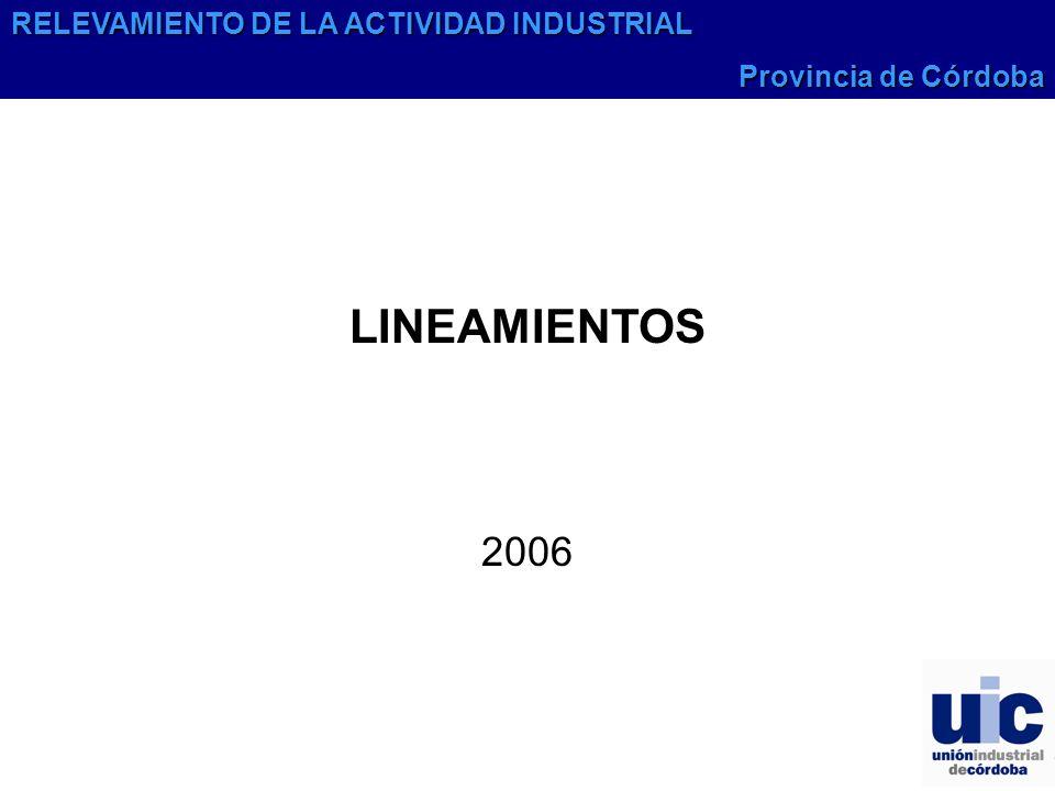 LINEAMIENTOS 2006 RELEVAMIENTO DE LA ACTIVIDAD INDUSTRIAL Provincia de Córdoba