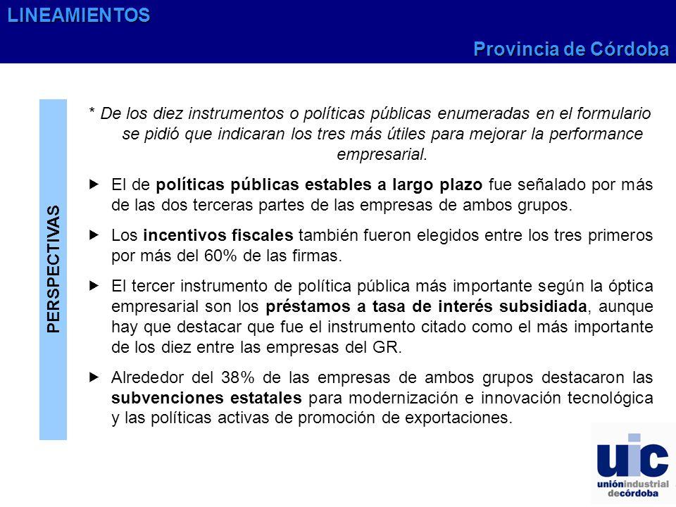 PERSPECTIVAS * De los diez instrumentos o políticas públicas enumeradas en el formulario se pidió que indicaran los tres más útiles para mejorar la pe