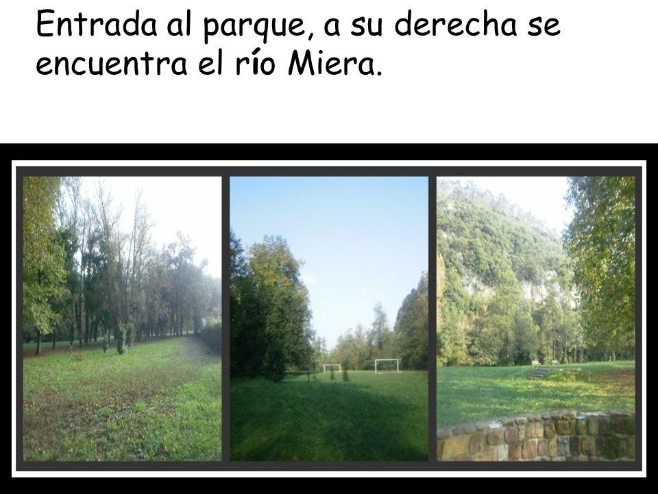 Entrada al parque, a su derecha se encuentra el río Miera.