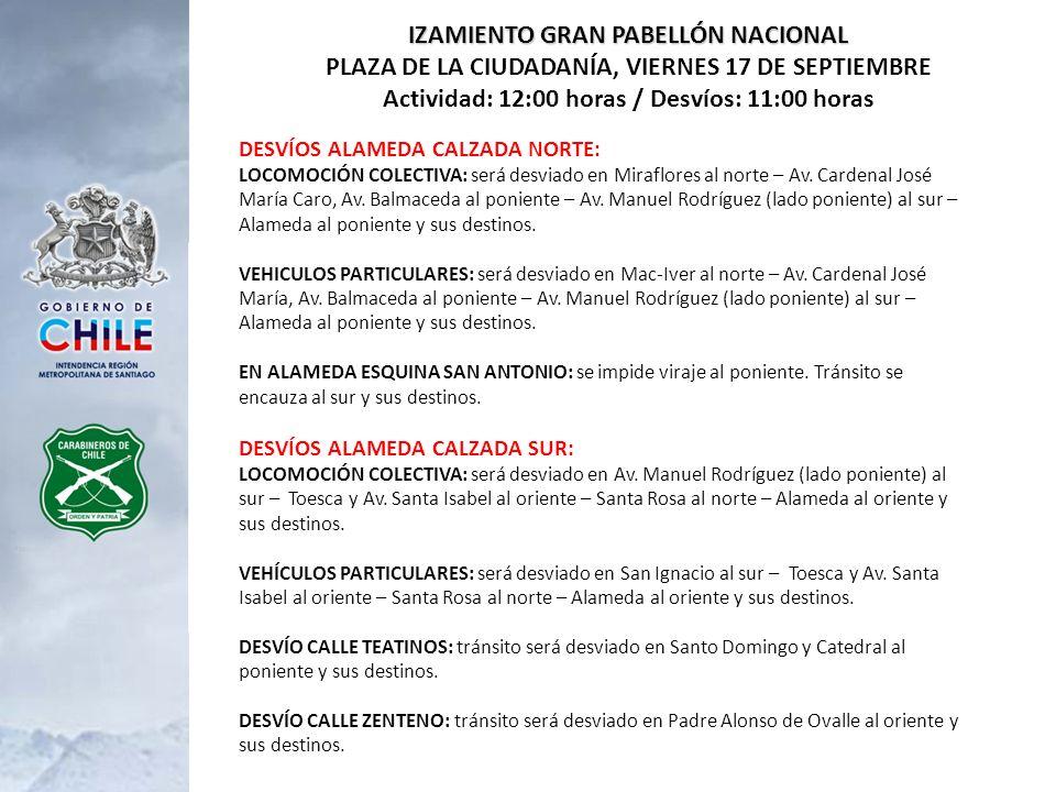DESVÍOS ALAMEDA CALZADA NORTE: LOCOMOCIÓN COLECTIVA: será desviado en Miraflores al norte – Av. Cardenal José María Caro, Av. Balmaceda al poniente –