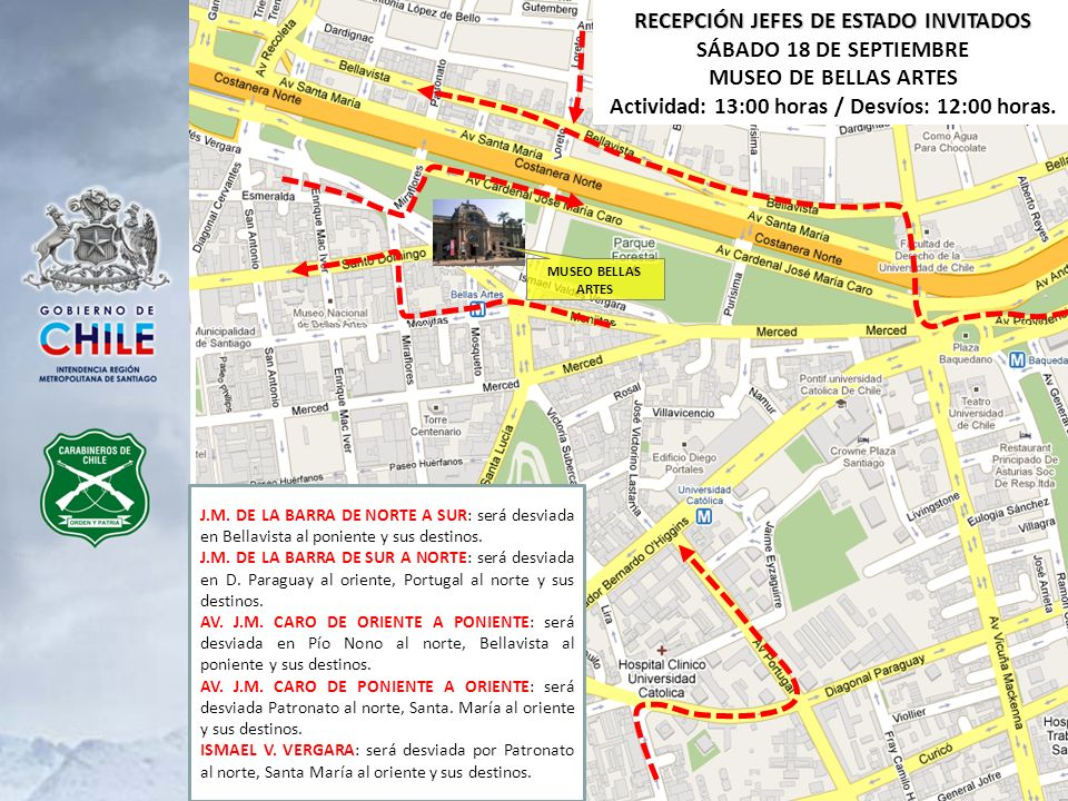 FIESTAS BICENTENARIO SÁBADO 18 DE SEPTIEMBRE - PLAZA DE ARMAS Actividad: 13:30 horas / Desvíos: 12:30 horas DESVÍO CALLE MONJITAS: Será desviada en San Antonio al sur y sus destinos.