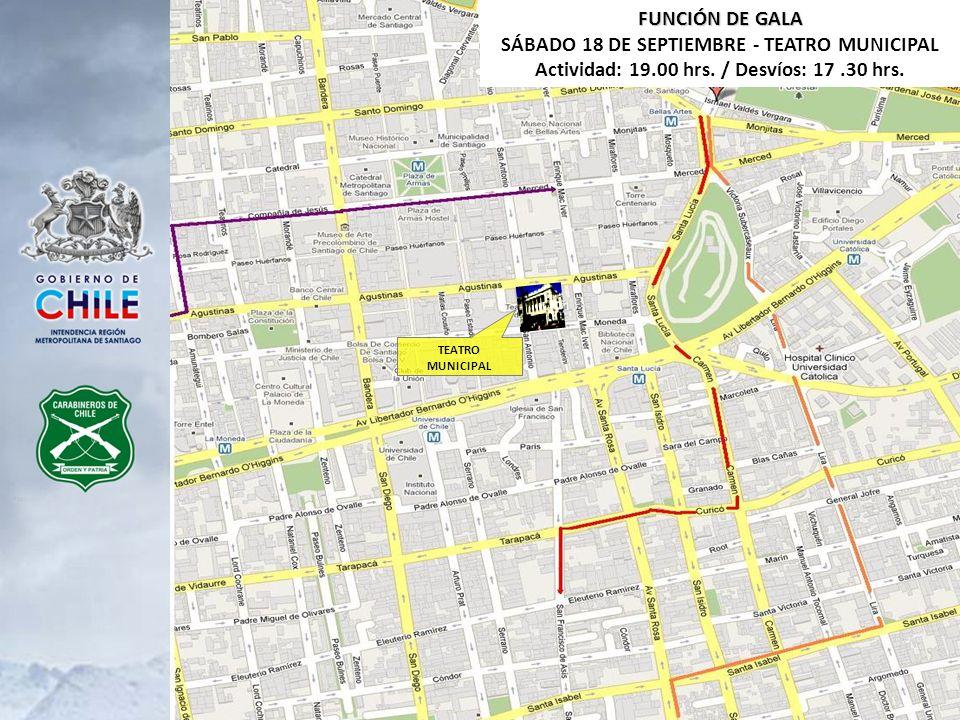 TEATRO MUNICIPAL FUNCIÓN DE GALA SÁBADO 18 DE SEPTIEMBRE - TEATRO MUNICIPAL Actividad: 19.00 hrs. / Desvíos: 17.30 hrs.