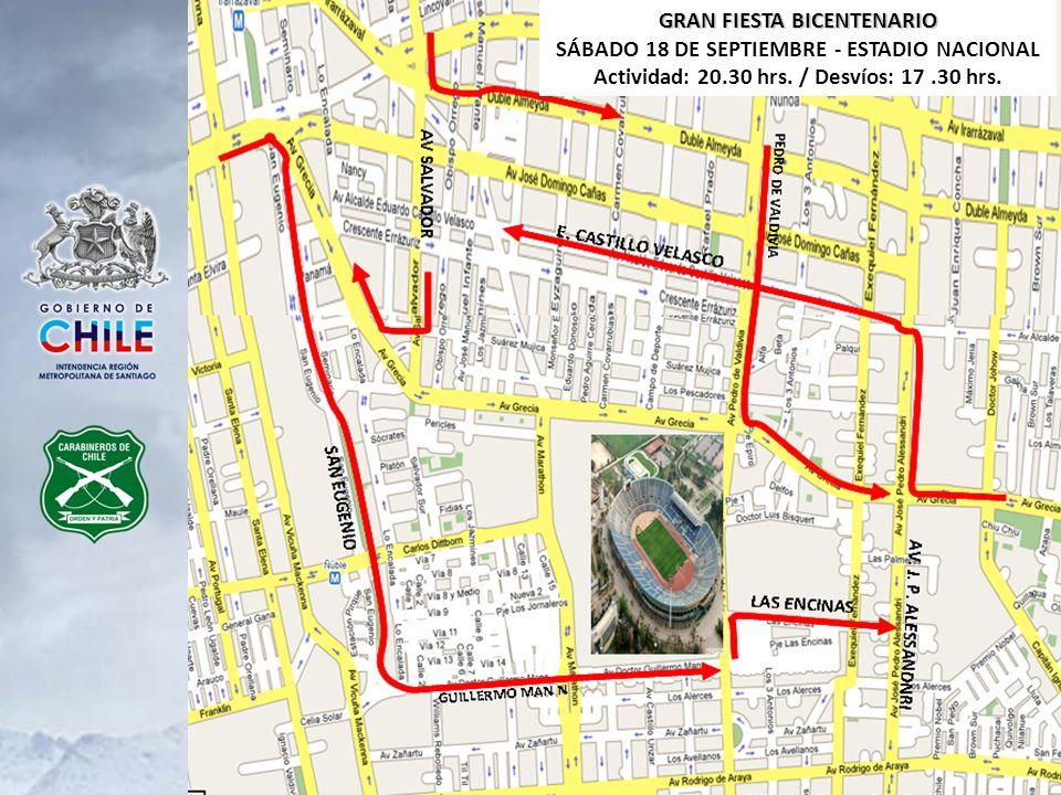GRAN FIESTA BICENTENARIO SÁBADO 18 DE SEPTIEMBRE - ESTADIO NACIONAL Actividad: 20.30 hrs. / Desvíos: 17.30 hrs.