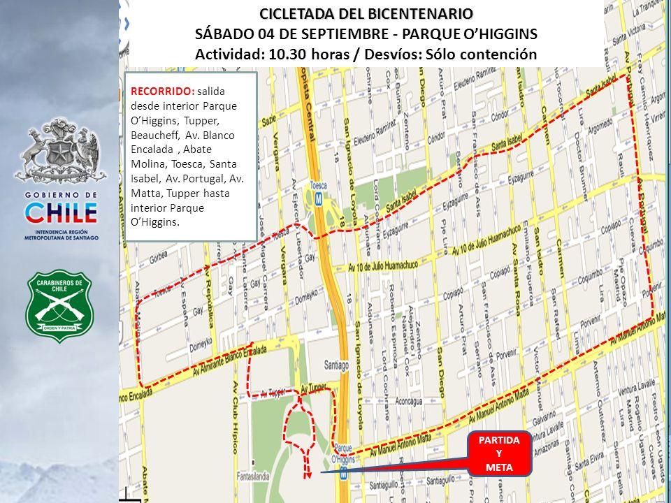 PARTIDA Y META CICLETADA DEL BICENTENARIO SÁBADO 04 DE SEPTIEMBRE - PARQUE OHIGGINS Actividad: 10.30 horas / Desvíos: Sólo contención RECORRIDO: salid